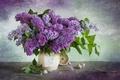 Picture bouquet, watch, lilac