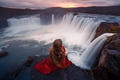Picture Lizzy Gadd, stones, in red, girl, waterfall