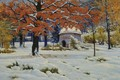 Picture picture, canvas, Early Snow, oil, landscape, Constantine Kryzhitsky