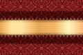 Picture ornament, gold ribbon, background, texture, vector, red