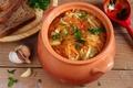 Picture pot, cabbage, garlic, bread, soup