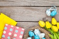 Picture decoration, wood, Easter, Easter, tulips, tulips, tender, yellow, Happy, spring, eggs