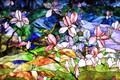 Picture abstraction, background, texture, stained glass, floral ornament, stained glass film