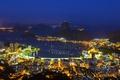 Picture night, lights, mountain, Brazil, Rio de Janeiro, Sugar Loaf, Guanabara Bay