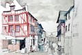 Picture the city, Dinan, home, France, watercolor, figure, street