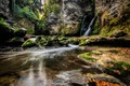 Picture waterfall, rock, moss, stones, nature