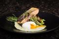 Picture egg, salad, salmon, asparagus