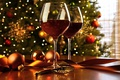 Picture table, holiday, wine, balls, toys, glasses, New year, tree, garland, ribbons, bokeh