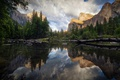 Picture clouds, river, the sky, forest, National Park, nature, reflection, mountains
