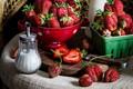 Picture berries, strawberry, sugar, ripe