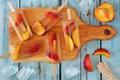 Picture ice cream, fruit, peaches, dessert, sweet, cutting Board, fruit ice