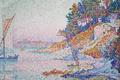 Picture landscape, boat, picture, sail, Paul Signac, pointillism, Saint-Tropez. Kalanki