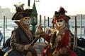 Picture pair, gondola, costumes, Venice, mask, carnival