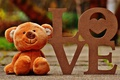 Picture LOVE, bear, letters, plush, toy