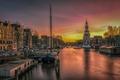 Picture sunset, Oudeschans, channel, Netherlands, Amsterdam, Netherlands, promenade, Amsterdam, ships