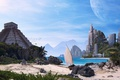 Picture sand, sea, the sky, water, birds, the city, stones, palm trees, shore, boat, building, planet, ...